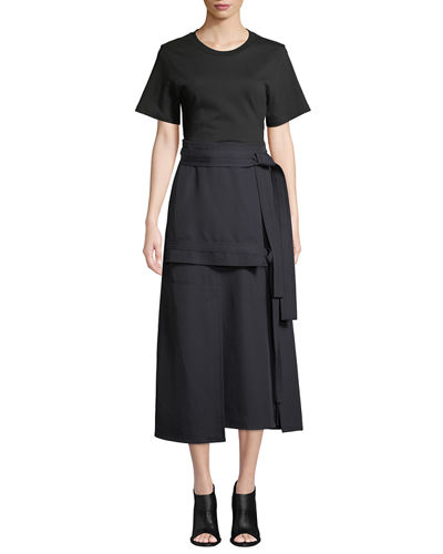 Short-Sleeve Dress With Front-Tie Skirt