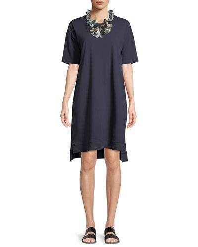 Slubby Organic Cotton Jersey Shift Dress, Petite