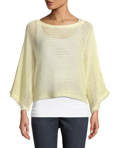Fringed-Cuff Open-Stitch Linen Box Top