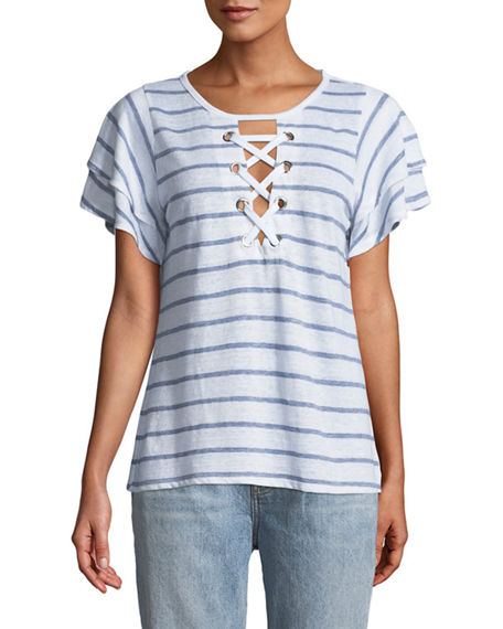 Generation Love KIKI LACE-UP RUFFLED SHORT-SLEEVE STRIPED LINEN TOP