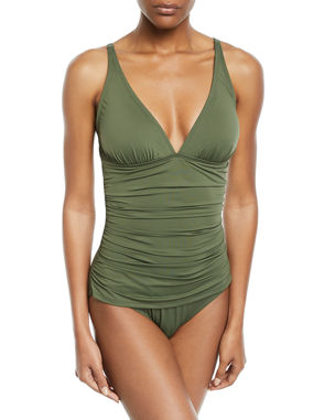 a06069956e3 Tommy Bahama Pearl Solid Ruched One-Piece Swimsuit