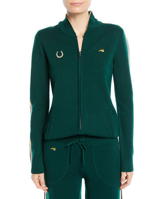RACE TRACK ZIP-UP TRACK JACKET WITH SIDE STRIPES