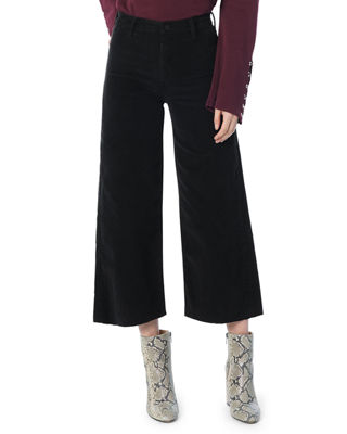 JOE'S JEANS The High-Rise Cropped Corduroy Wide-Leg Jeans With Raw Hem in Black