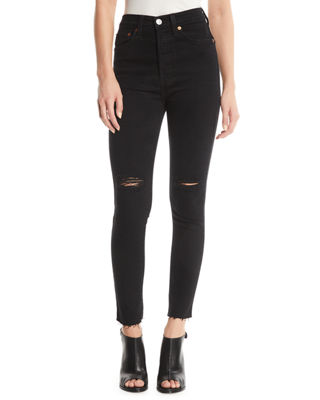 RE/DONE High-Rise Skinny Frayed Ankle Jeans with Ripped