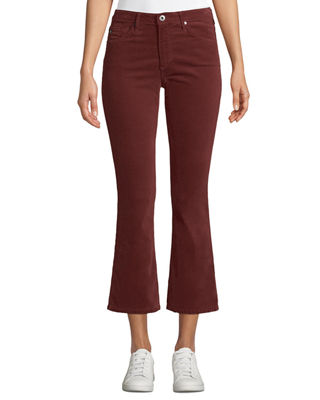 AG Adriano Goldschmied Jodi Velvet Cropped High-Rise Flare