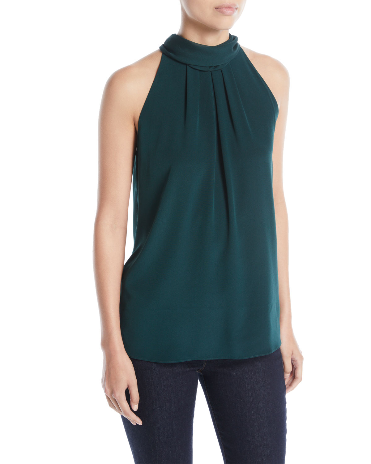 Sleeveless High-Neck Silk Blouse
