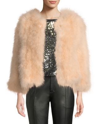 BELLE FARE Knit Ostrich Feather Jacket in Blush