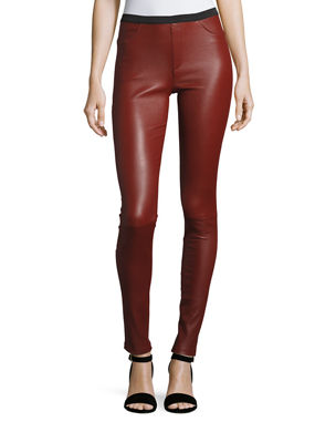 f622073d869 Neiman Marcus Leather Collection Stretch-Leather Leggings