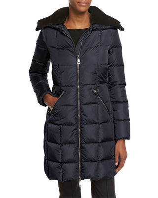 Moncler Davida Zip-Front Long-Sleeve Quilted Puffer Coat