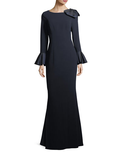 Trumpet-Sleeve Crepe Column Evening Gown w/ Bow