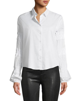 ALEXIS Andriel Button-Front Ruffle Cotton Shirt in White