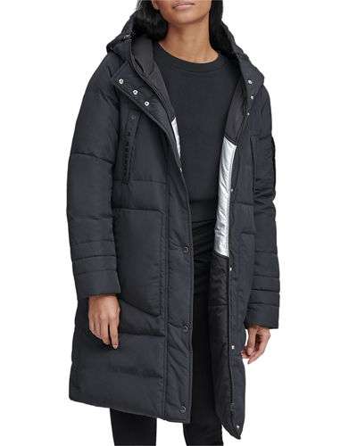 Moxie Reversible Down-Fill Metallic Parka Coat