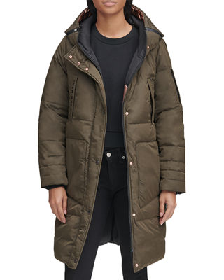 ANDREW MARC Moxie Reversible Down-Fill Metallic Parka Coat in Olive