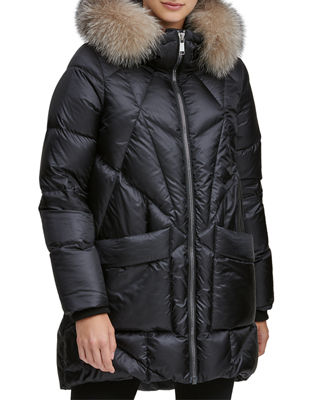 ANDREW MARC Mckenna Lightweight Down-Filled Parka W/ Detachable Fur in Black