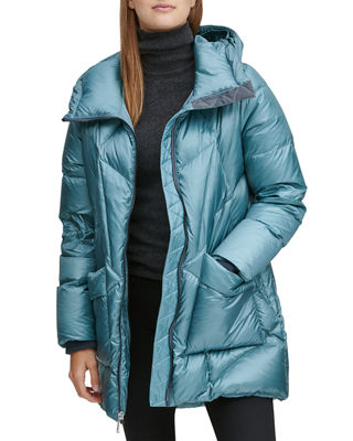 ANDREW MARC Mckenna Lightweight Down-Filled Parka W/ Detachable Fur in Blue