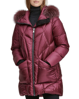 ANDREW MARC Mckenna Lightweight Down-Filled Parka W/ Detachable Fur in Red