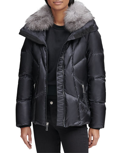 Naya Down-Fill Parka Coat w/ Fur Hood
