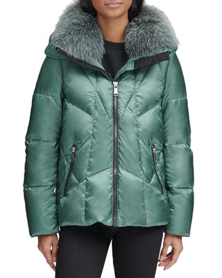 ANDREW MARC Naya Down-Fill Parka Coat W/ Fur Hood in Blue