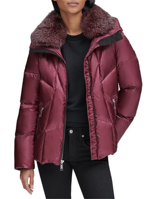 ANDREW MARC Naya Down-Fill Parka Coat W/ Fur Hood in Red