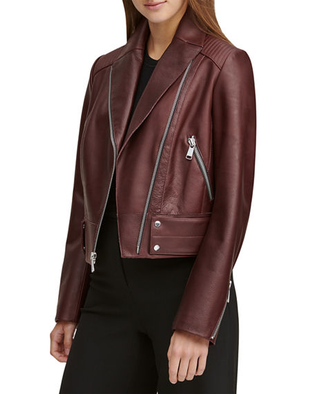 Andrew Marc PALEY PEBBLED LEATHER MOTO JACKET