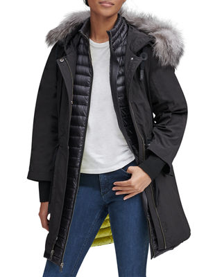 ANDREW MARC Brixton Fur Trimmed Hooded Down Parka Coat in Black