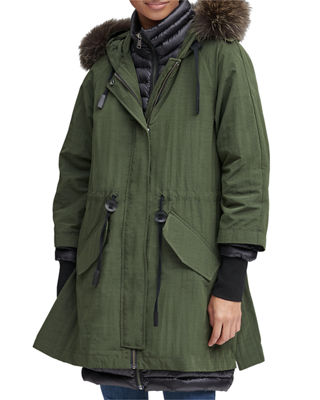ANDREW MARC Brixton Fur Trimmed Hooded Down Parka Coat in Olive