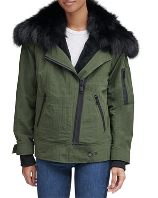 ANDREW MARC Sparrow Crinkle Moto Jacket W/ Removable Fur Collar in Olive