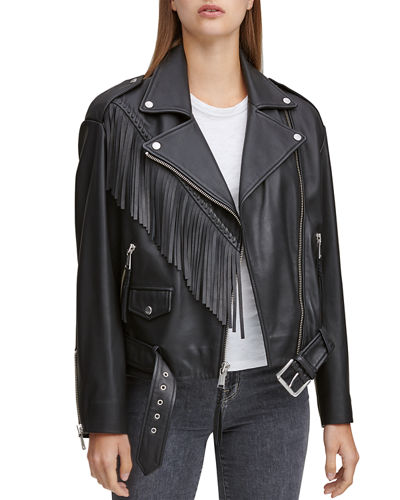 Zariah Soft Leather Fringe Moto Jacket