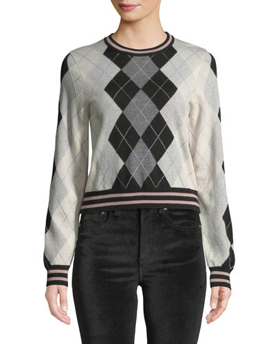 Dex Cropped Argyle Crewneck Sweater