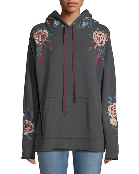 8c5cba99659f1 Johnny Was Plus Size Darielle Embroidered Hoodie Sweatshirt In Charcoal Grey