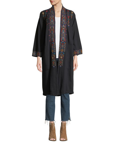 Cleo Embroidered Long Coat