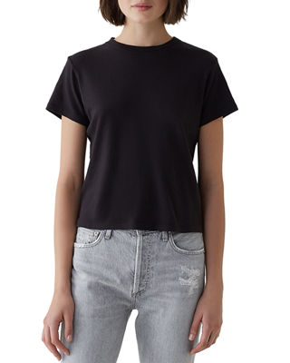 A GOLD E Short-Sleeve Cotton Cropped Baby Tee in Black