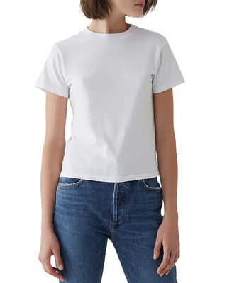 A GOLD E Short-Sleeve Cotton Cropped Baby Tee in White
