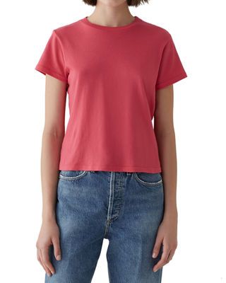 A GOLD E Short-Sleeve Cotton Cropped Baby Tee in Dark Pink