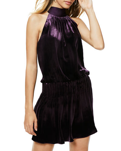Paige Velvet Gathered Tie-Neck Cocktail Dress