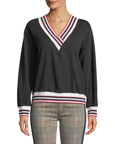 Kristine Sporty V-Neck Sweatshirt with Striped Trim