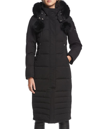 Saskatchewan Zip-Front Quilted Puffer Coat w/ Pompoms
