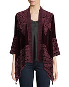 Johnny Was Hirsch Embroidered Velvet Draped Cardigan and