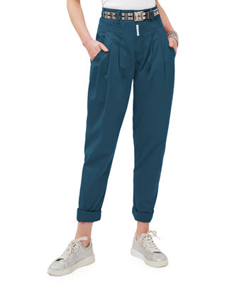 Cat Eye High-Rise Twill Trousers in Teal