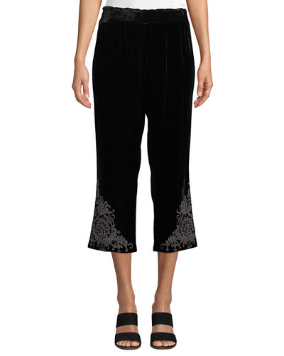 Plus Size Hirsch Embroidered Velvet Cropped Pants
