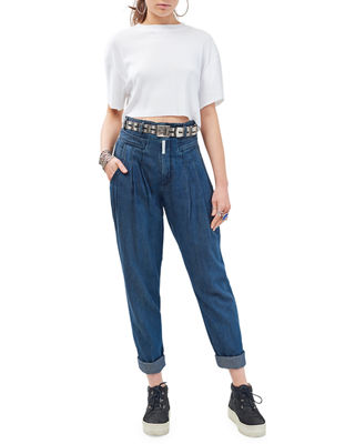 Cat Eye High-Rise Denim Trousers in Medium Blue