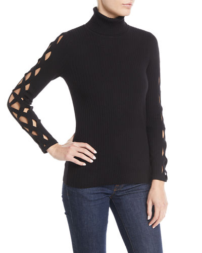 Kimila Ribbed Lattice-Cutout Turtleneck Sweater