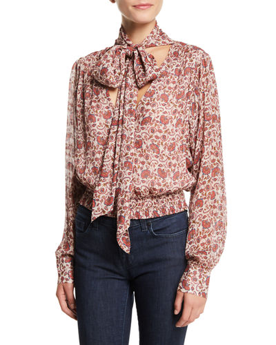 Winslow Printed Tie-Neck Blouson Top