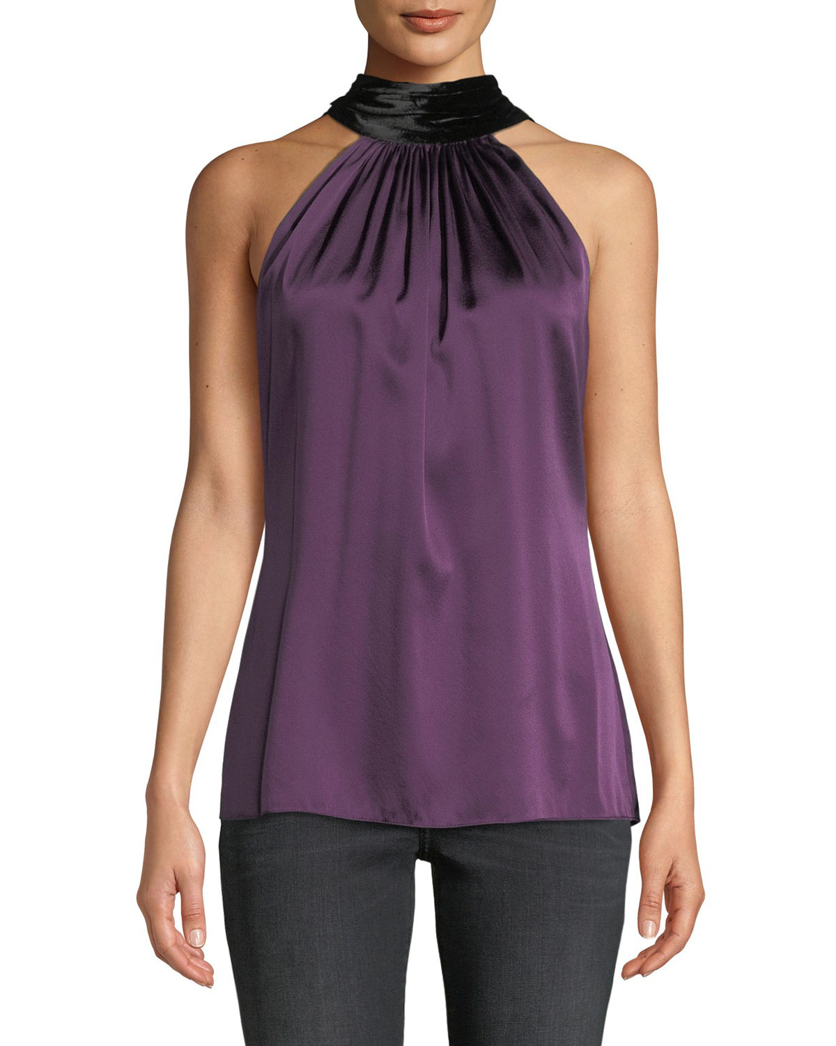 Paige Silk Halter Top with Velvet