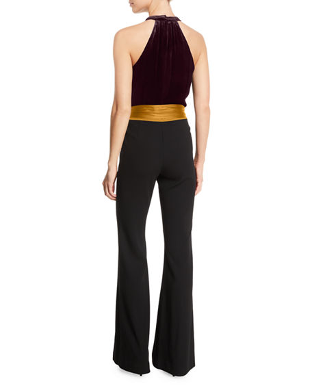 Image 2 of 2: Ramy Brook Nina Velvet Belted Halter Jumpsuit