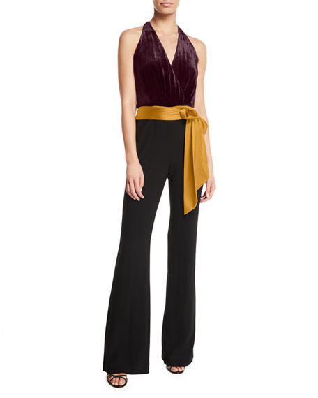 Image 1 of 2: Ramy Brook Nina Velvet Belted Halter Jumpsuit