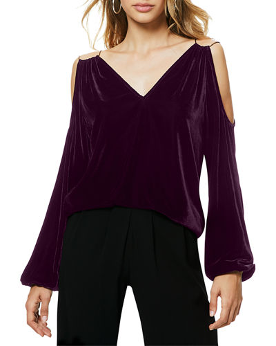 Gigi Velvet Cold-Shoulder Top