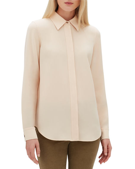 Lafayette 148  OLGA FINESSE CREPE BLOUSE WITH TOPSTITCH DETAIL