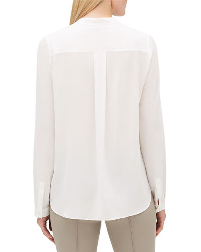 Lafayette 148 New York Russell Long-Sleeve Lightweight Sand-Washed Silk Blouse