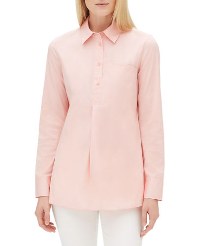 Casper Long-Sleeve Stretch-Cotton Blouse